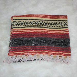 Vintage Fringed Mexican Ethnic Falsa Blanket